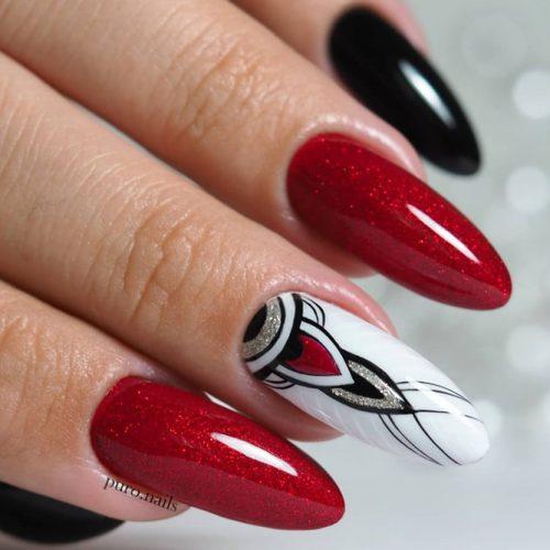 Fabulous Nails In Classy Color Combination #rednails #blacknails #whitenails #longnails #almondnails #geometricnails