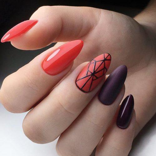 Contrasting Geometric Nail Art #rednails #maroonnails #longnails #almondnails #geometricnails
