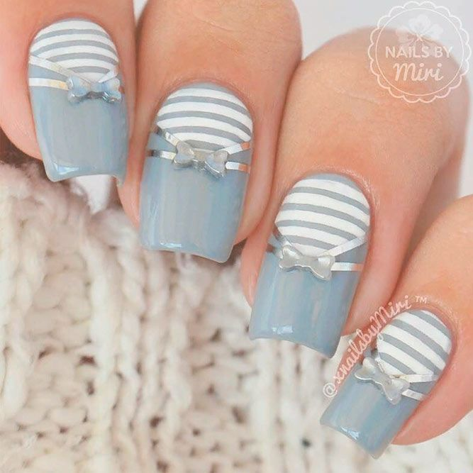 Low-Key Nails With Studs And Stripes #shortnails #stripednails