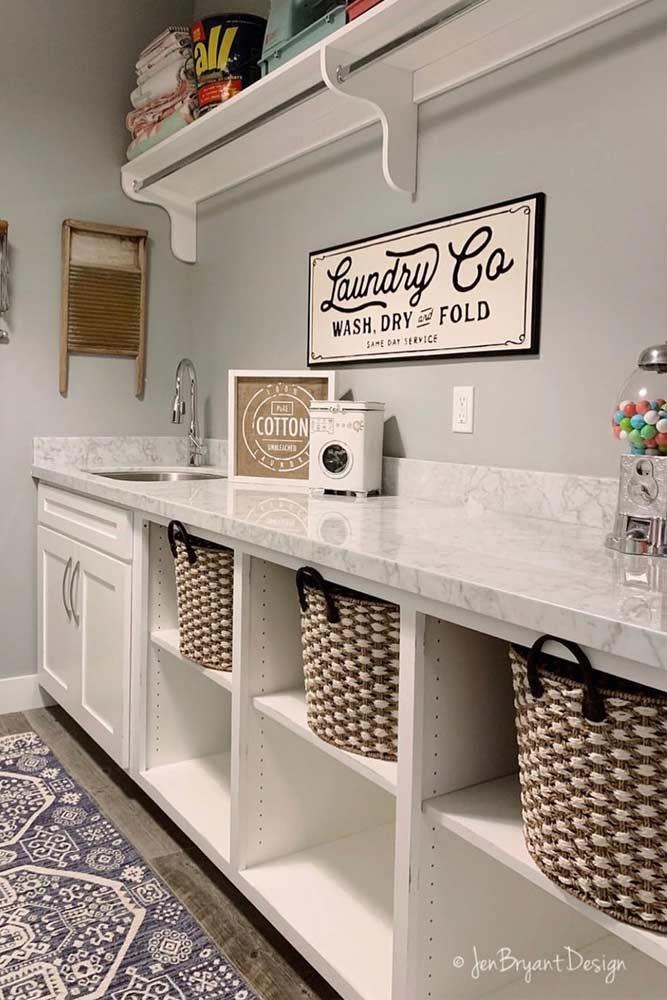 Storage Space Organization In Laundry Room #baskets #storagespace
