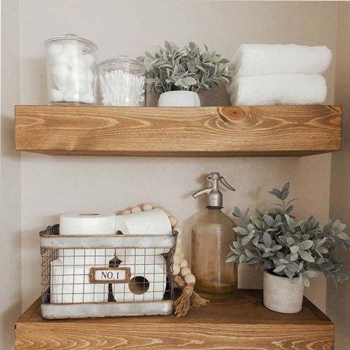 Wood Shelves Design For Bathroom #woodshelves