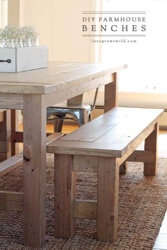 DIY Farmhouse Bench #farmhousebench
