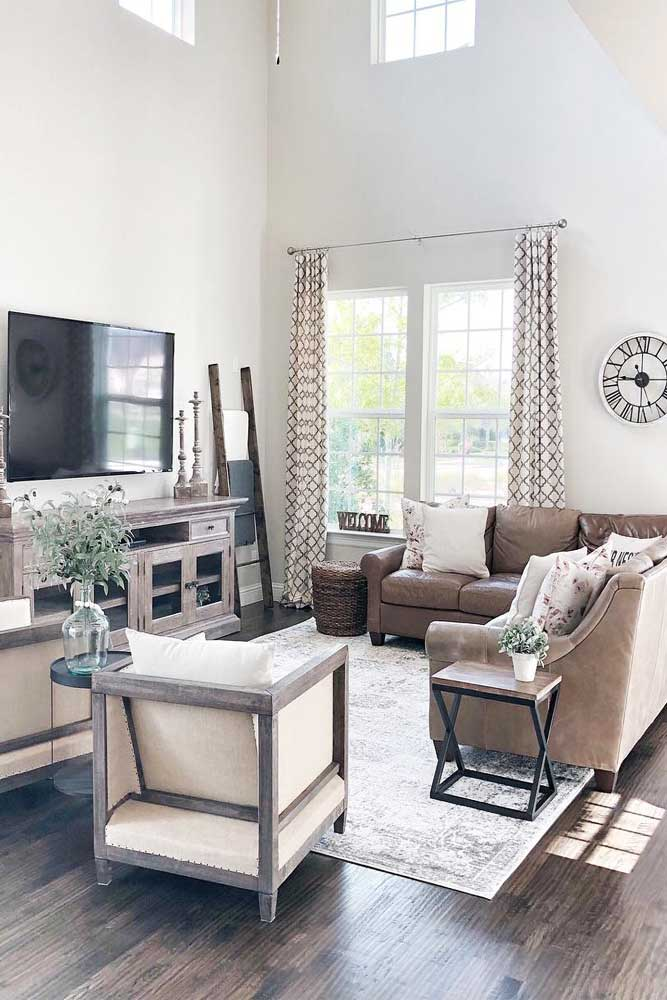Modern Living Room Design #wood #sofa