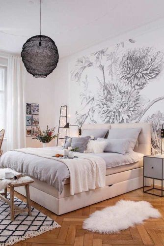 Modern Bedroom Design #pillows #fur