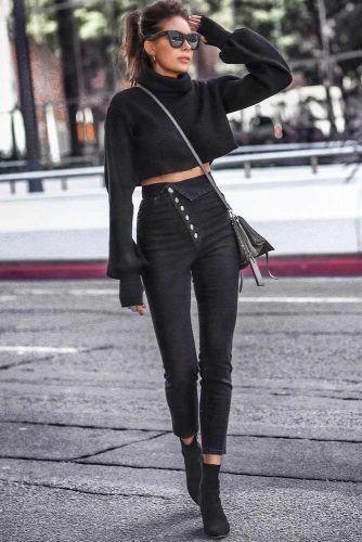 Dark Cropped Jeans Design #blackjeans