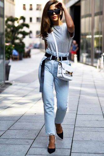Basic Outfit Idea With High Waisted Jeans #simplelook
