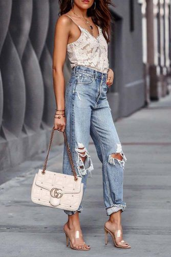 ripped High Waisted Jeans #rippedjeans