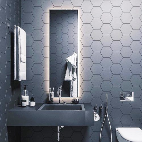 Black Bathroom Design With Lighted Mirror #modernbathroom