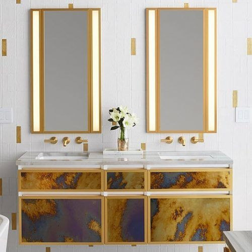 Modern Bathroom In Gold Colors With Lighted Mirror #goldbathroom