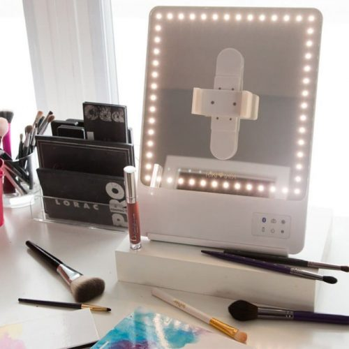 Smart Lighted Mirror With Magnetized Phone Holder #smartmirror #phoneholder