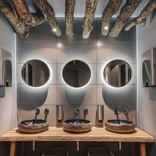 Bathroom Design With Round Mirrors #rusticaccents