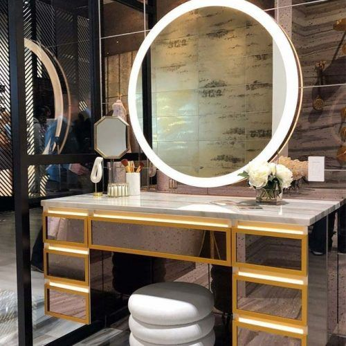 Round Makeup Lighted Mirror #vanitytable