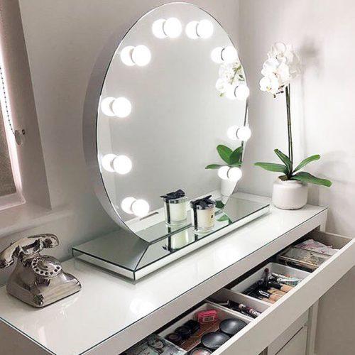 Round Vanity Makeup Mirror #roundmirror #bubblelamps