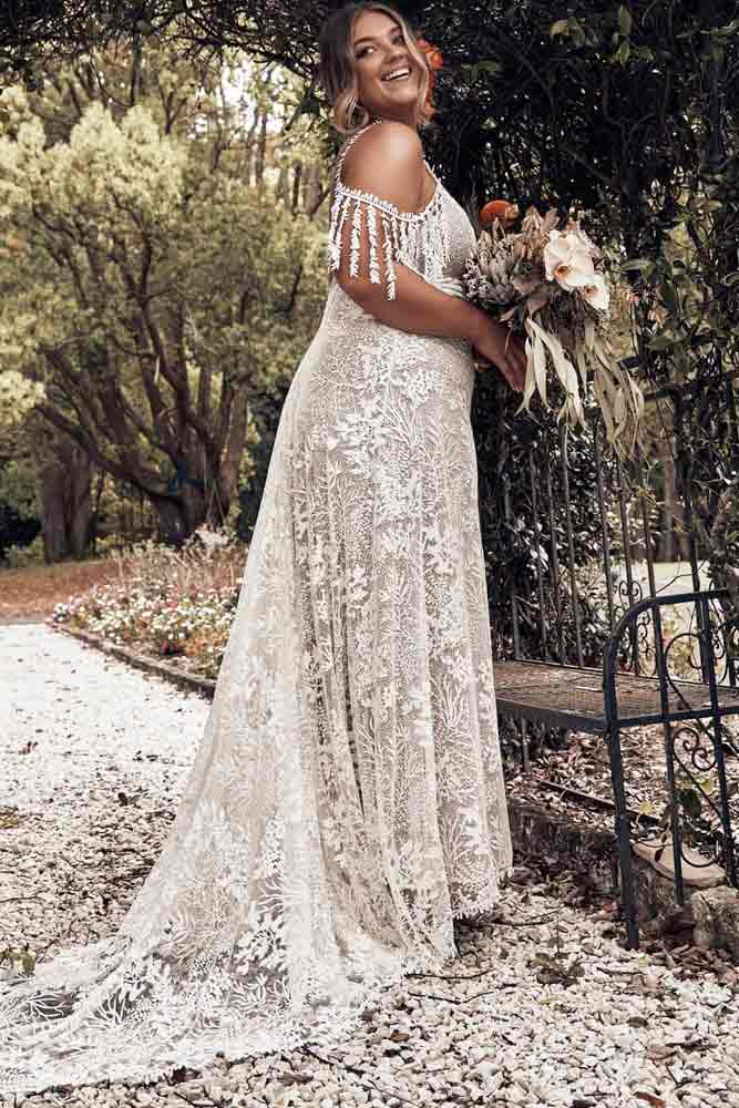 Boho Shoulder Off Dress Design #laceweddingdress
