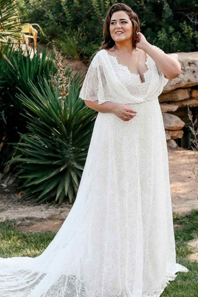 Guipure Wedding Dress With Flutter Sleeves #bohostyle #fluttersleeves
