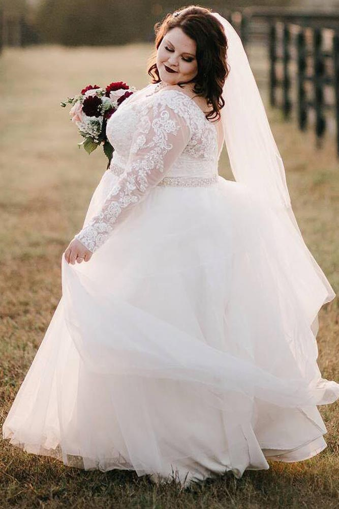 Lace Wedding Dress With Long Sleeves #laceweddingdress