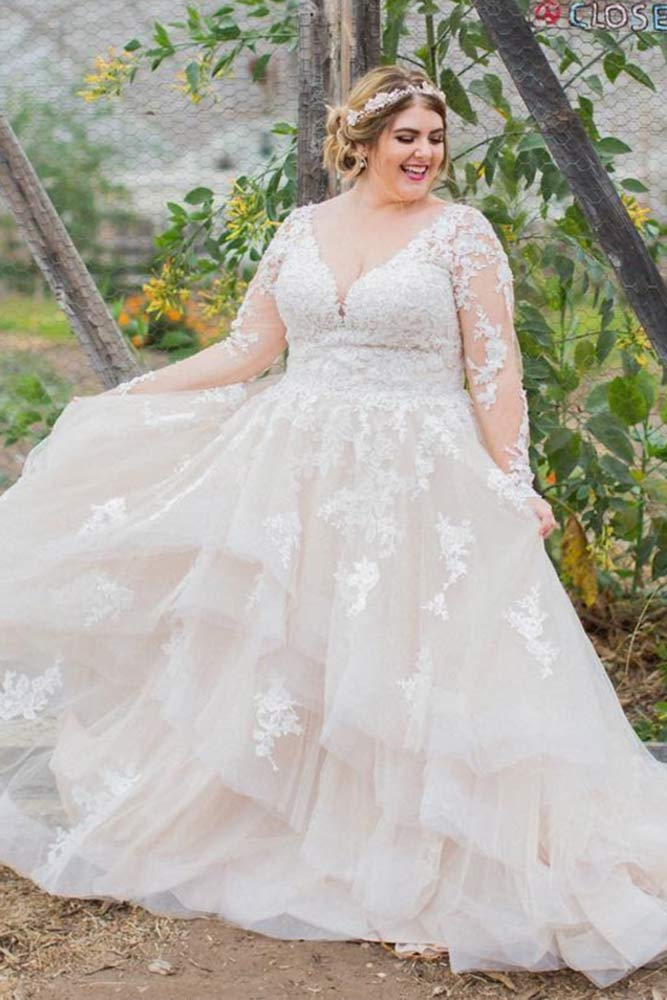 Lace Plus Size Wedding Dress With Sleeves #weddingdresswithsleeves