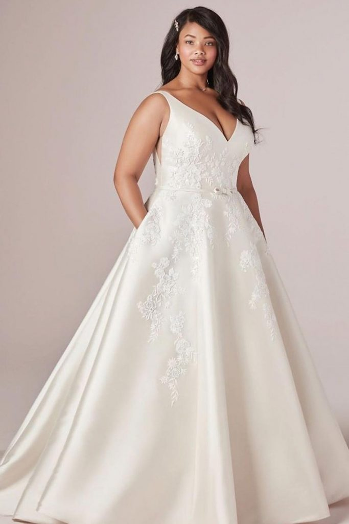 Satin Plus Side Wedding Dress #satindress #satinweddingdress
