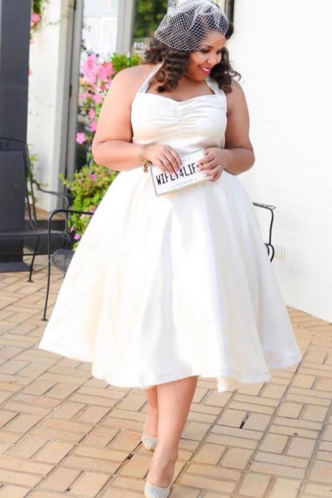 Short Plus Size Dress Design #shortweddingdress #simpleweddingdress