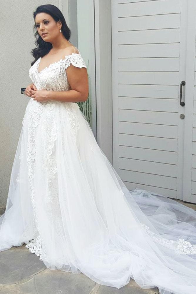 Shoulder Off Plus Size Dress Design #shoulderoff #longweddingdress