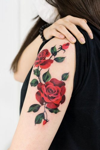 Arm Tattoo Design With Rose #armtattoo #flowertattoo