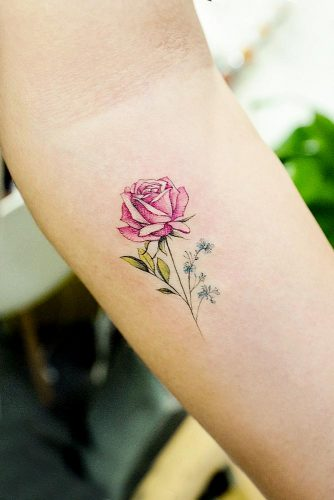 Cute Single Rose Tattoo Design For Arm #armtattoo