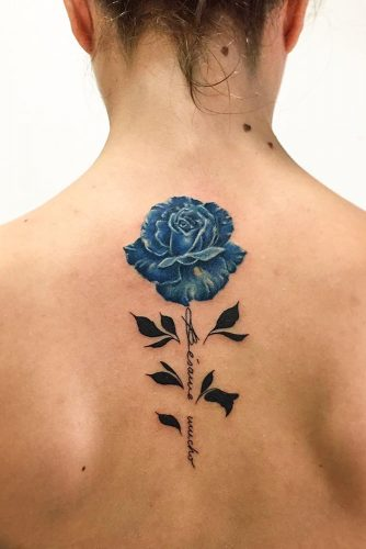 Blue Rose Tattoo Design For Back #blurosetattoo #backtattoo