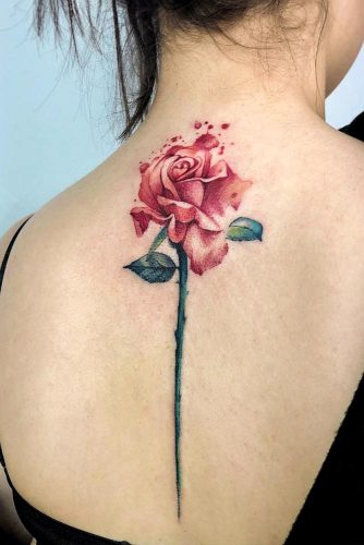 Back Tattoo With Single Rose #singlerosetattoo #backtattoo