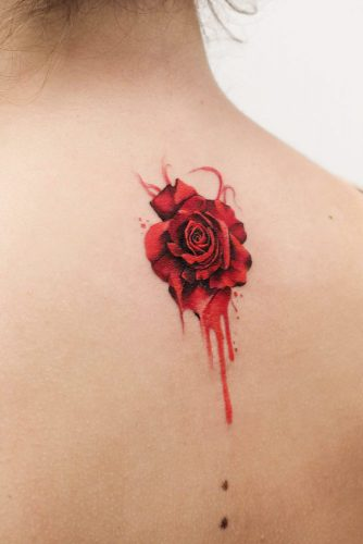 Bright Red Rose Design For Back #backtattoo