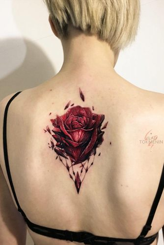 Back Tattoo Design With Red Rose #redrosetattoo #backtattoo