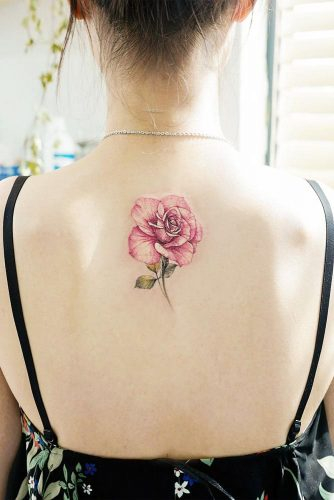 Pink Rose Tattoo Idea For Back #pinkrose #backtattoo