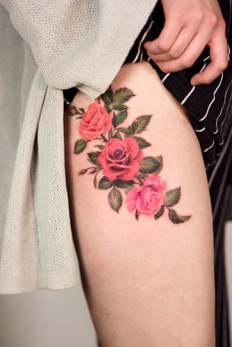 Leg Tattoo Design With Roses #legtattoo