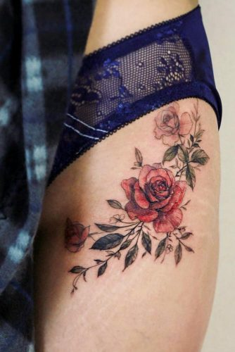Beautiful Lower Body Rose Tattoo Design #lowerbodytattoo #rosetattoo