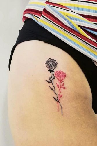 Easy Rose Tattoo Design For Lower Body #lowerbodytattoo