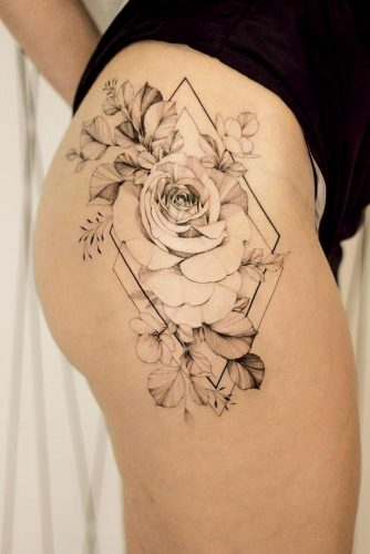 Rose Tattoo Design With Geometric Elements #geometrictattoo
