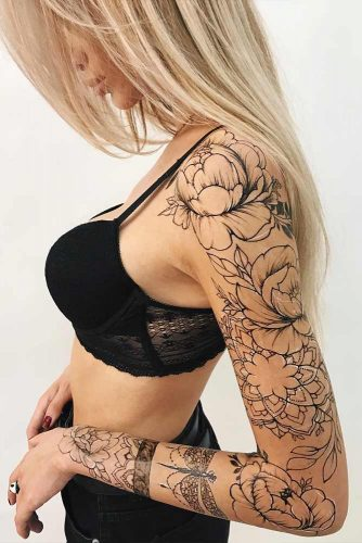 Full Sleeve Tattoo Idea With Roses And Mandala Patterns #mandalatattoo #sleevetattoo