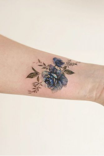 Blue Rose Tattoo Design For Wrist #wristtattoo