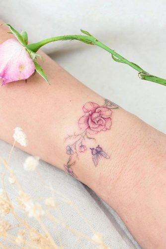Wrist Bracelet Tattoo With Rose #bracelettattoo