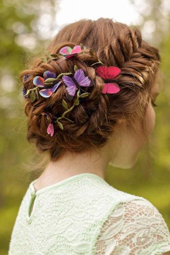 Lovely Updo For Long Hair With A Fishtail Braid #fishtailbraid #hairaccessory