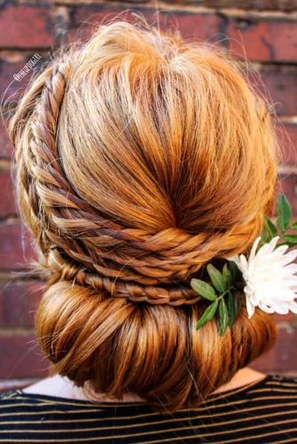 Greek Style Updo With Braids #braid #floralaccessory #redhair