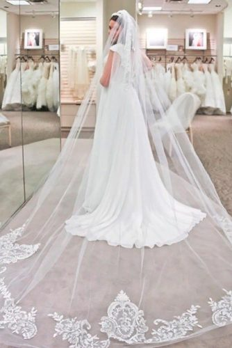 Cathedral Length Veil With Lace #longweddingveils #lacewedinglace