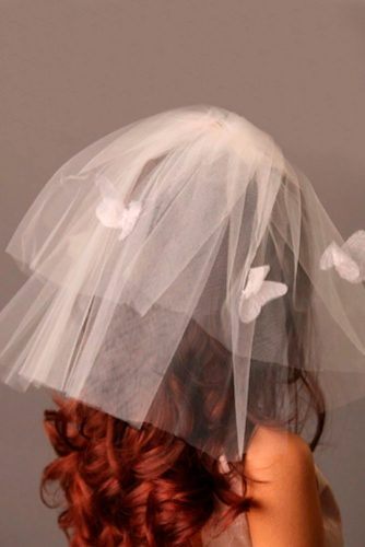 Shoulder Length Butterfly Veil #shortweddingveils #modernveils