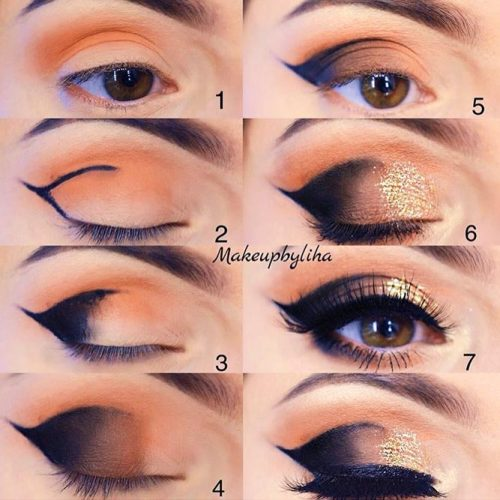 Smokey Almond Eyes Tutorial #smokeytutorial #goldsmokey
