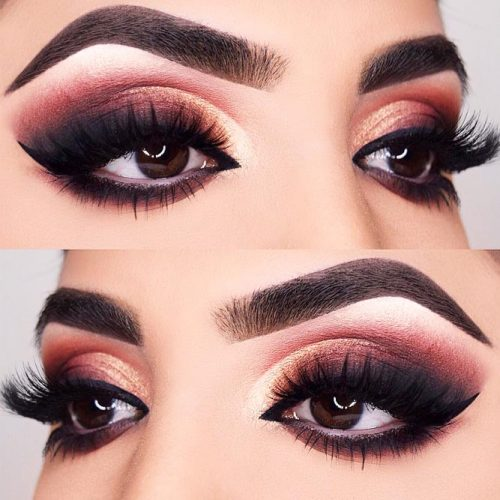 Gold – Burgundy Smokey For Almond Eyes #goldsmokey #burgundysmokey