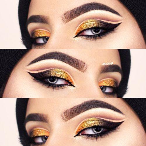 Cat Eyeliner On Glitter Shadow Base #glitterbase #cateyes