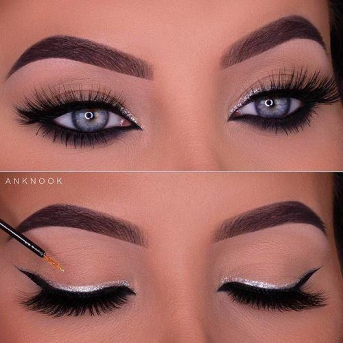 Almond Eyes Makeup With Double Eyeliner #silvereyeliner