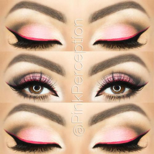 Double Winged Pink Eyeliner For Almond Eyes #doubleeyeliner #pinkeyeliner