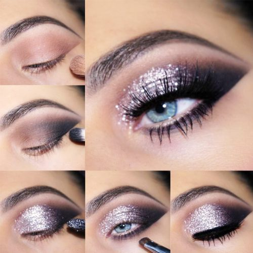 Glitter Smokey Tutorial For Almond Eyes #glittersmokey #smokeytutorial