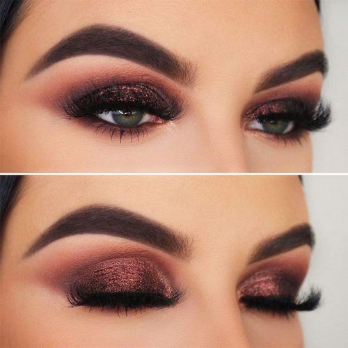 Brown Glitter Smokey Eyes Makeup #glittersmokey