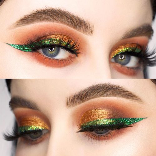Festive Eyes Makeup With Green Eyeliner #glitterline #greenline